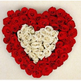 25 red roses and 25 whites roses arranged in a heart shape flower box