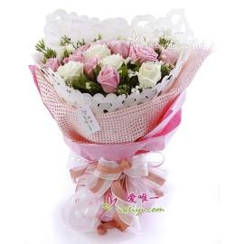 The bouquet of flowers « Happy honeymoon »