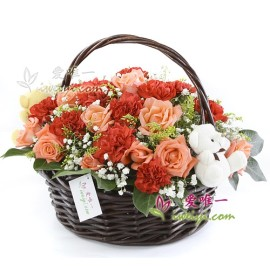 The basket of flowers « Thanks for everything »