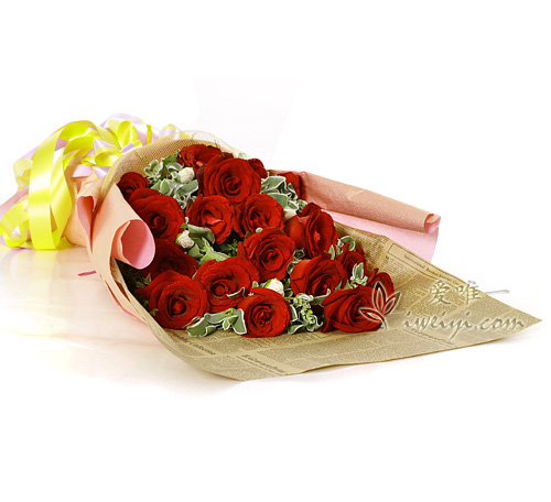 bouquet of red roses and carnations