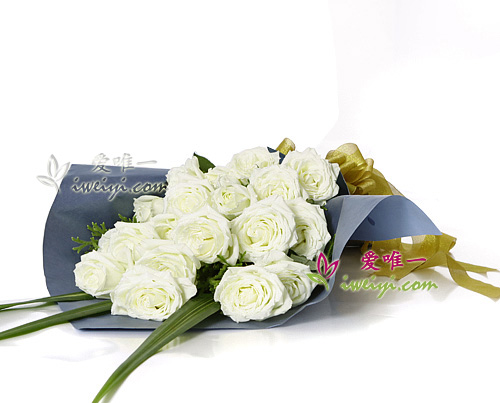 bouquet of 19 white roses