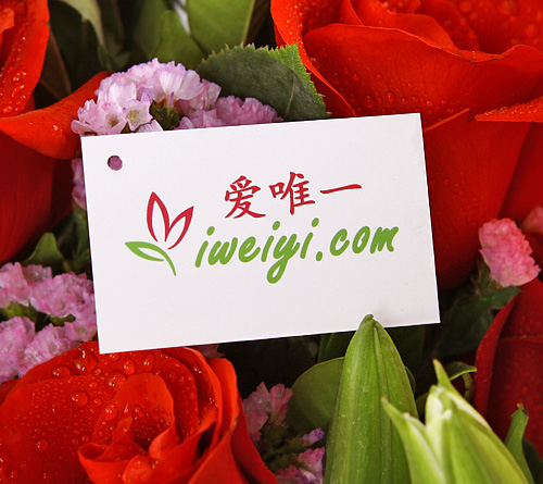 send a bouquet of red roses and white lilies