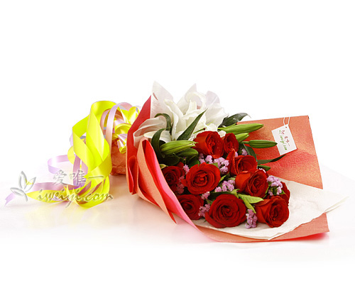 bouquet of red roses and lilies