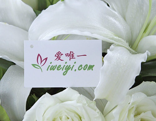 send a bouquet of white roses and white lilies to China