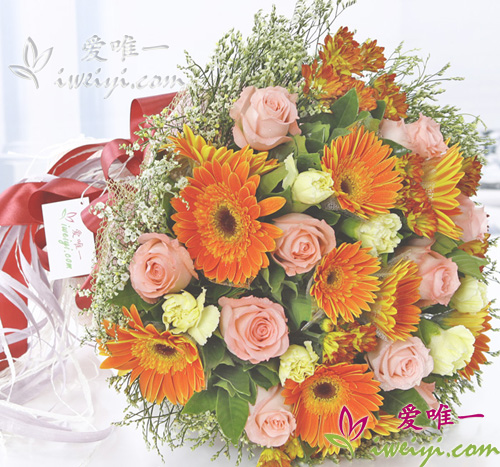 bouquet of pink roses, yellow carnations and orange gerbera