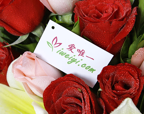 send a bouquet of red roses, yellow lilies and pink roses to China
