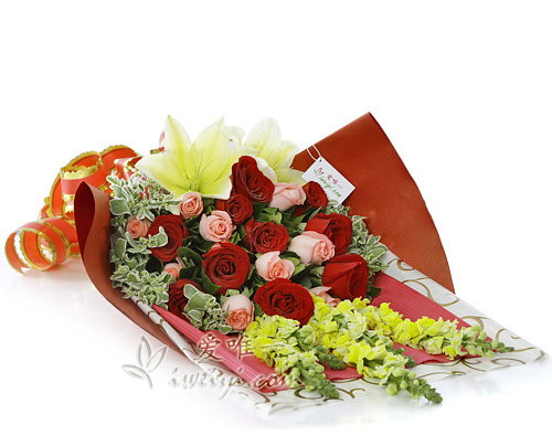 bouquet of red roses, pink roses and yellow lilies