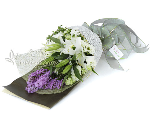 bouquet of white lilies and lilac liatris