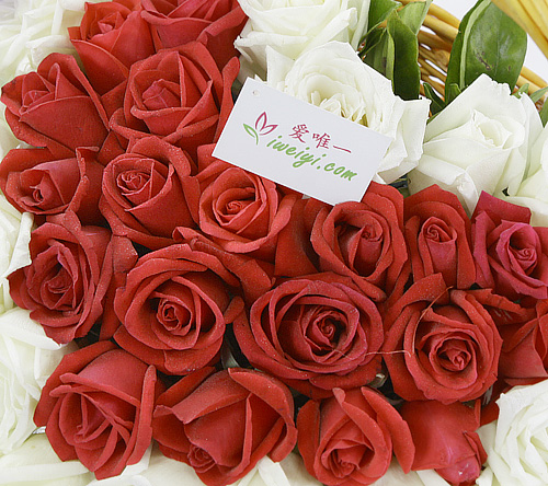 Send a basket of red roses and white roses to China