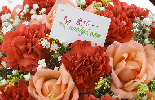 send pink roses and red carnations to China